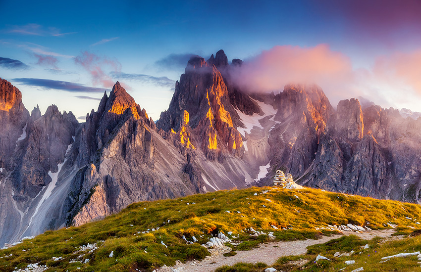 The dolomite mountains in Italy