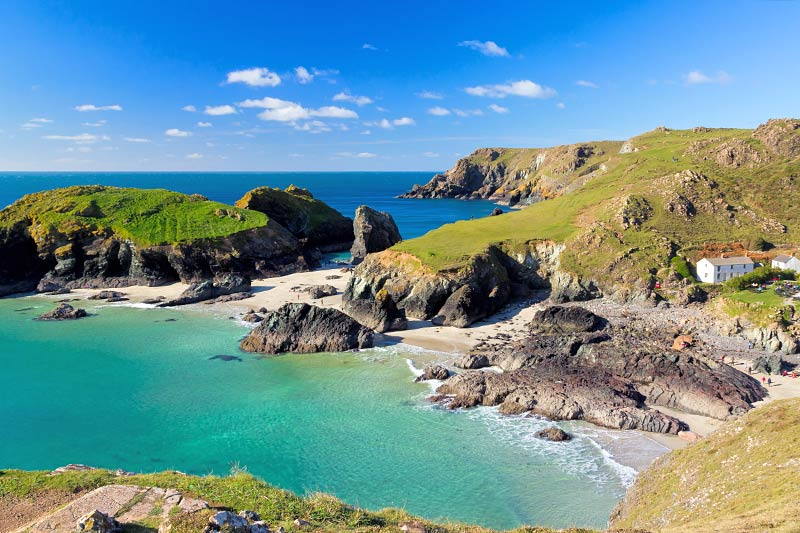 On your motorhome holiday around the Cornish coast, stop at Kynance Cove for spectacular views of the sea