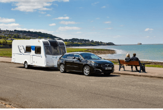 Car and caravan on holiday