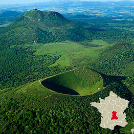 Old volcano in the Auvergne region of France